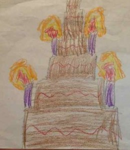 This is the Queen's birthday cake. It is a chocolate cake. It has raspberry icing in it. It has purple candles. By Rose