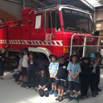 With firetruck